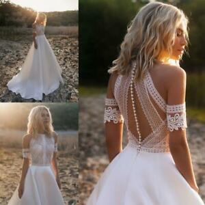 Beach-Boho-Wedding-Dresses-Bridal-Gowns-Lace-White-Ivory-Sleeves-Train-A-Line