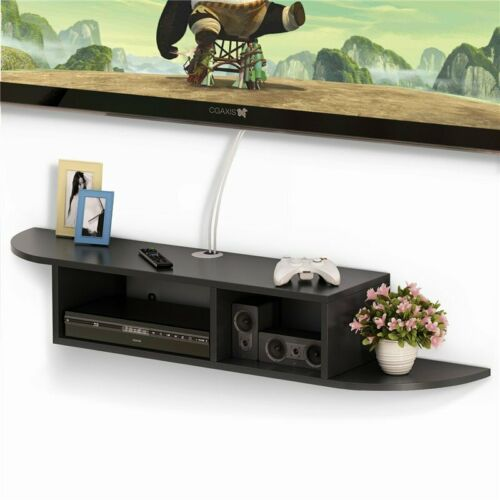 US Multifunction 2 Tier Modern Wall Mount Floating Storage Shelf for Home Office
