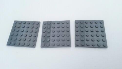 6 x 6 Flat plates N588 Grey 3x Lego Dark Used Condition Blue
