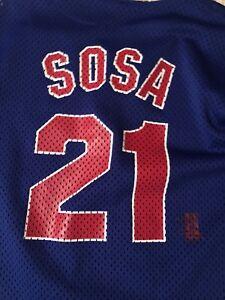 uk availability c0b4a da225 Details about Chicago Cubs Sammy Sosa Blue MLB Baseball Jersey Boys L  Vintage