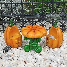 Halloween Pumpkin Table & Chairs Set, Jack-O-Lantern, Fairy Garden by Jennifer