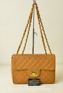 Chanel-CC-Classic-JUMBO-Chain-Shoulder-Bag-Gold-HW-Used-Authentic