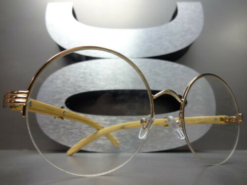 CLASSY VINTAGE RETRO Style Clear Lens EYE GLASSES Round Gold /& Wood Wooden Frame
