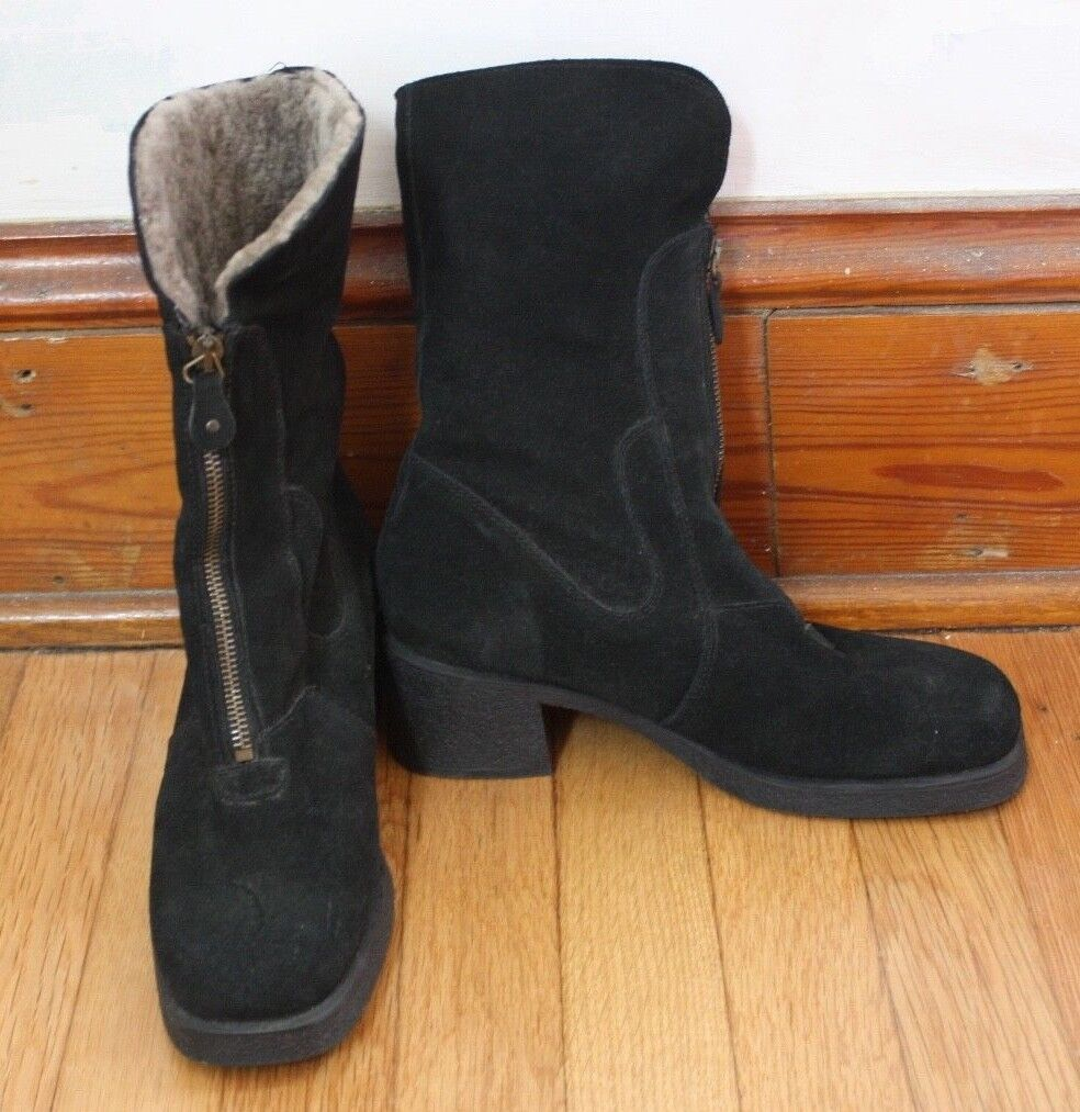 Aquatalia 7.5 Shearling Lined Black Suede Chunky Heel Square Toe Mid Calf Boots