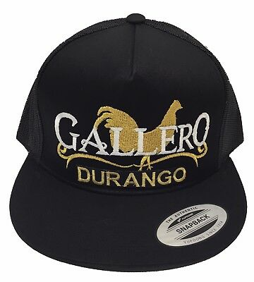 EL GALLERO DE DURANGO MEXICO HAT MESH TRUCKER BLACK SNAP BACK LOGO FEDERAL