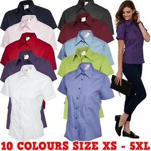 Ladies-Poplin-Short-Sleeve-Tailored-Fit-Shirt-Womens-Office-Uniform-Formal-Work