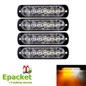 6LED Car Truck Strobe Emergency Warning Light Flash Lamp Blue Amber White In UK