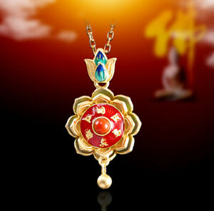 I03-Cloisonne-Anhanger-buddhistisch-Lotus-mit-6-Wort-Mantra-Silber-925-vergoldet