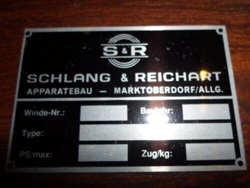 Schild Typenschild id plate  Schlang /& Reichart Seilwinde FW 3 4 5 51 Hanomag s3