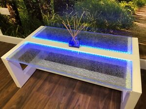 Details About Modern Glass Coffee Table Led Lit Cracked Ice Crackle Glass Lounge Furniture