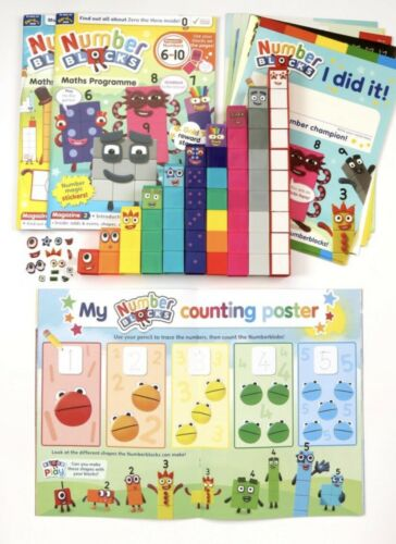 Numberblocks Cbeebies magazines And Complete Set Of Blocks In Gift Box