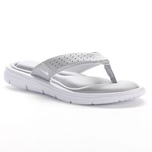 eaeabd501 NEW Womens Nike Comfort Flip Flops Thong Sandals Silver White SIZE ...