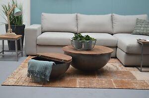 Details zu 2er Set DESIGN Couchtisch Mango Holz Suzan metall rund Beistelltisch Halbkugel