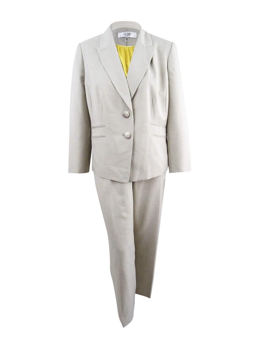 Le Suit Women's Plus Size Pantsuit & Camisole (22W, Khaki Light golden)