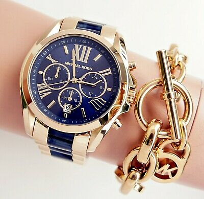 Original Michael Kors Watch Ladies Watch mk6268 Bradshaw XL Bicolor New | eBay