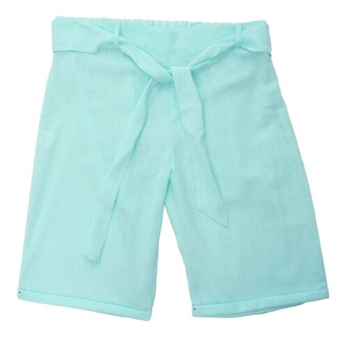 Womens New 16-26 Linen Blend Knee Length Shorts Turn Up For Very Hot Weather