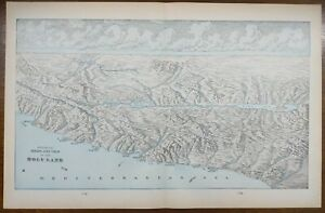 Vintage-1900-HOLY-LAND-Map-Engraving-22-034-x14-034-Old-Antique-Original-JERUSALEM