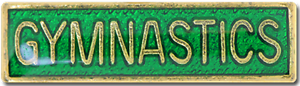 Gymnastics Bar Pin Badge in Green Enamel