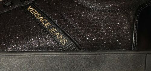 VERSACE JEANS Black Glitter Gold Logo Plimsoll Trainers Size UK 2.5 /& 3 BNWT//BOX