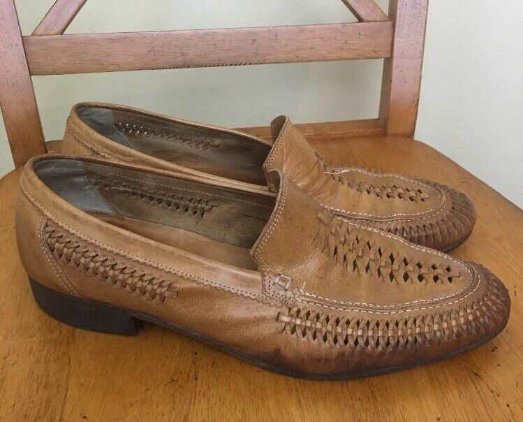Mens Classic Casual marron Leather chaussures Loafers Taille 9.5 Italian Webbed Woven