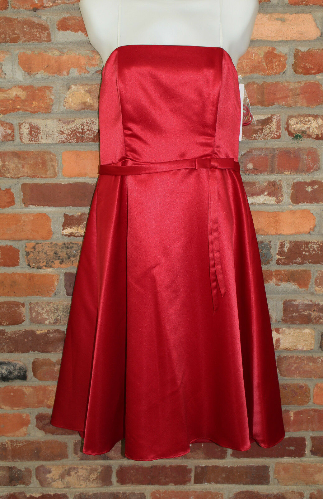 Fiesta Red Strapless Knee Length Prom Bridesmaid Formal Dress USA  Large Womens