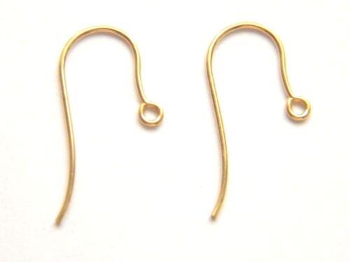 Par De de 9 quilates de oro amarillo Plain Gancho Cables Shephard Crook Estilo añadir tu propia gota