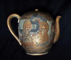 1880-1900-Antique-Japanese-Meiji-Period-Satsuma-Ware-Porcelain-Tea-pot