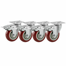 4 Pack Heavy Duty Plate Swivel Casters With Lock Brake 3 Polyurethane Wheels