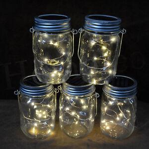 DéTerminé Solaire 20 Del Fée Mason Jar Couvercle Lumière Nuit Jardin Couleur Changeant Fête Décor-afficher Le Titre D'origine