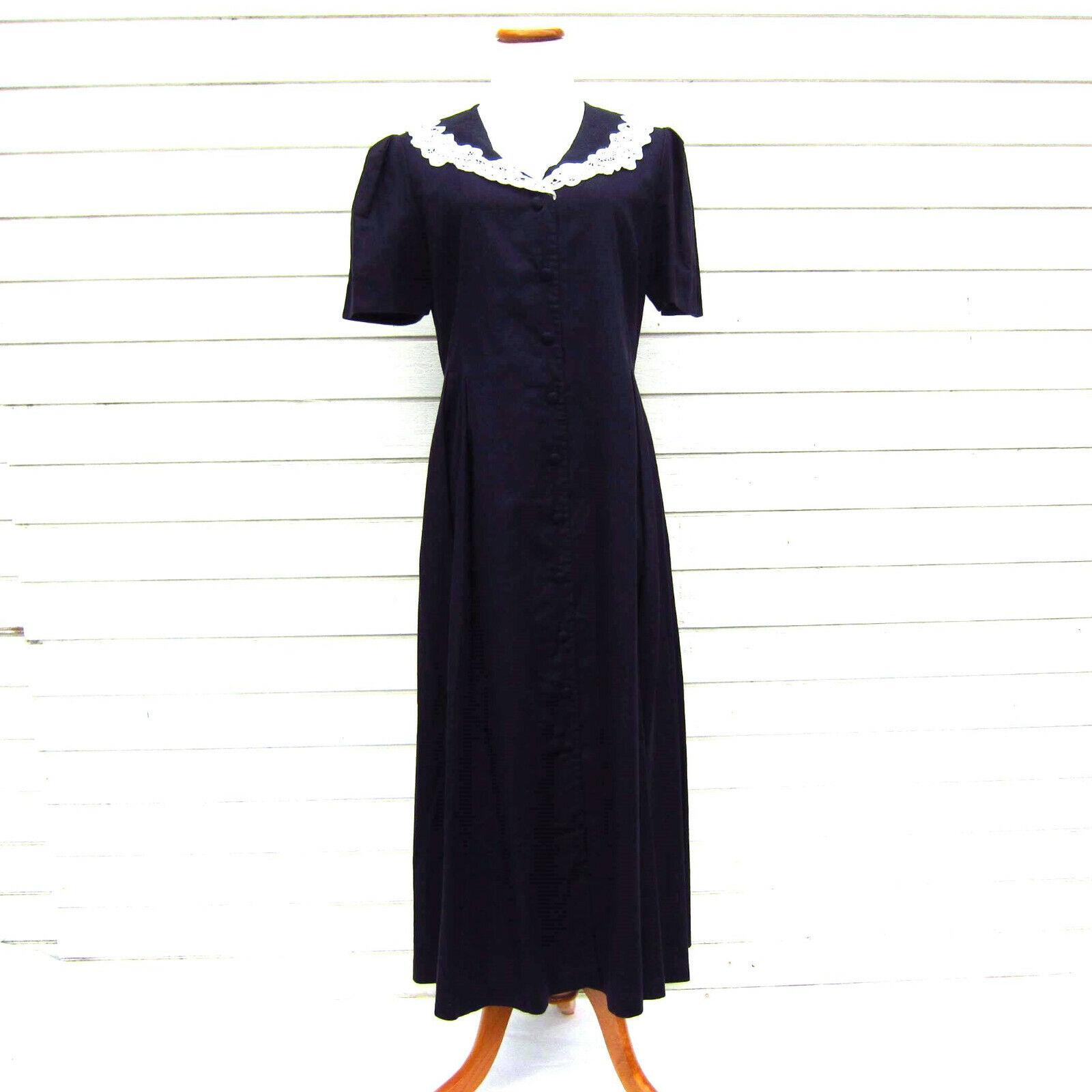 årgång LAURA ASHLEY Navy blå Dress Linen Handsydd Lace Collar USA 12