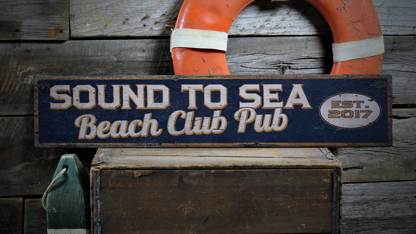 Beach Club, Beach House Name, Beach - Rustic Distressed Wood Sign ENS1000877