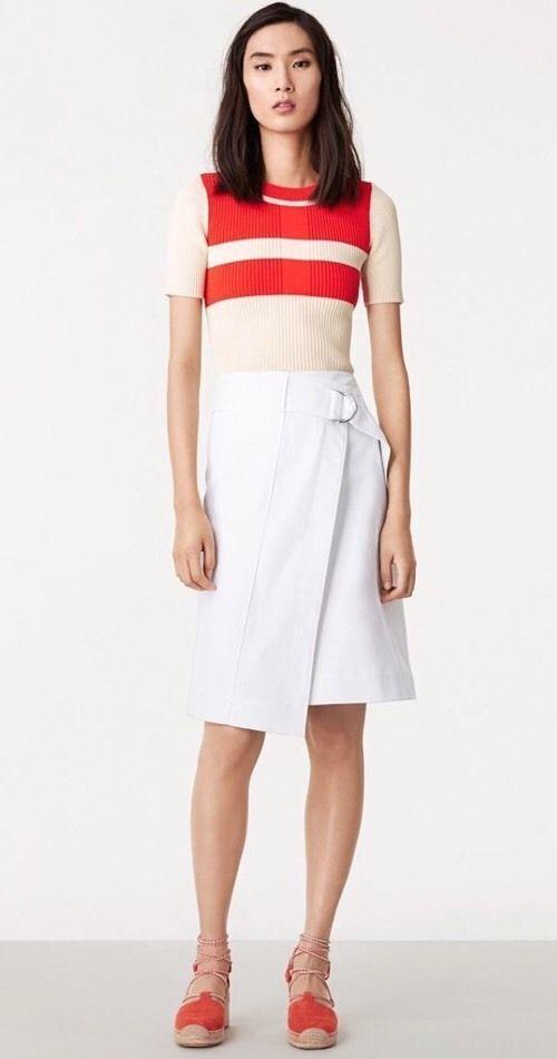 TORY BURCH Denise Faux Wrap A Line White Denim Skirt sz.0 NWT  250