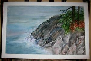 VINTAGE-OCEAN-NAUTICAL-WAVES-ROCKS-CLIFFS-AUTUMN-SUMMER-FOLK-ART-WC-OLD-PAINTING