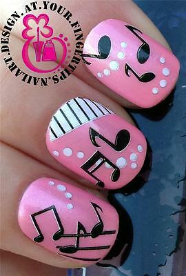 NAIL ART WRAPS WATER TRANSFERS STICKERS DECALS SHEET MUSIC NOTES PANIO KEYS #269