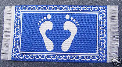 1:12 Scala In Tessuto Blu Bagno Piedi Design Tappeto Tappetino Casa Delle Bambole Tappeto Miniatura-mostra Il Titolo Originale