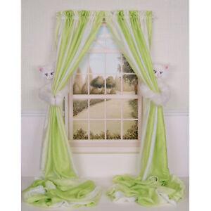 CURTAIN CRITTERS DESIGNER BABY KIDS WHITE KITTY CAT CURTAIN TIEBACK HOLDBACK SET