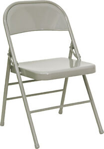 Lot-of-200-Heavy-Duty-Grey-Metal-Folding-Chairs