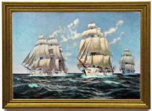 Segelschulschiffe Stoch, Gneisenau und Moltke, 1896, edel gerahmt