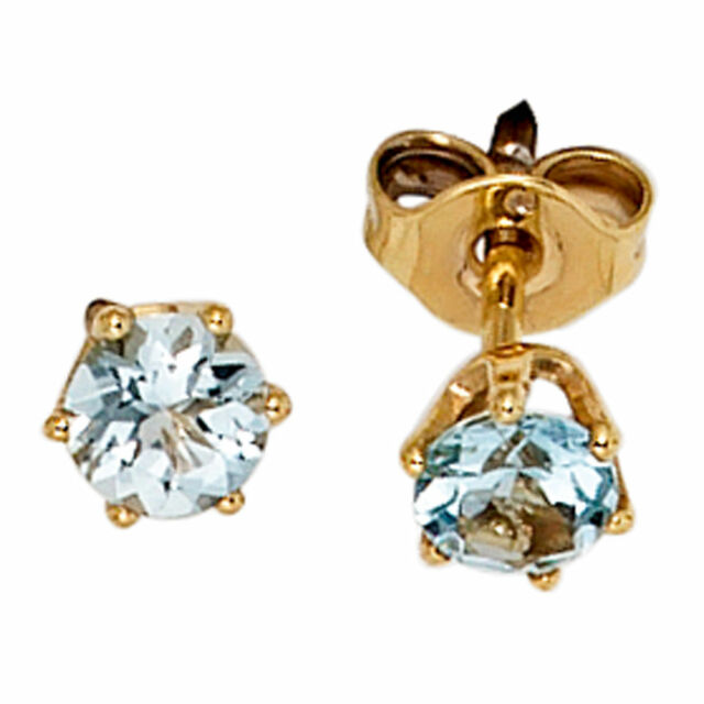 Damen Ohrstecker rund 585 Gold Gelbgold 2 Aquamarine hellblau blau Ohrringe