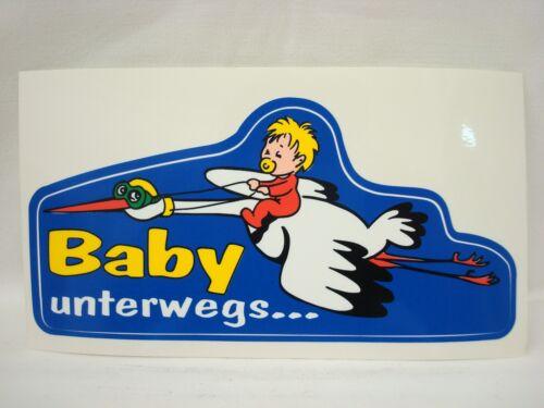 Aufkleber Baby unterwegs 16 x 7,5 cm - Auto PKW Sticker Nachwuchs Storch