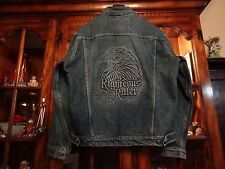 HARLEY DAVIDSON RIGHTEOUS RULER EAGLE EMBOSSED DENIM JEAN JACKET MENS MEDIUM