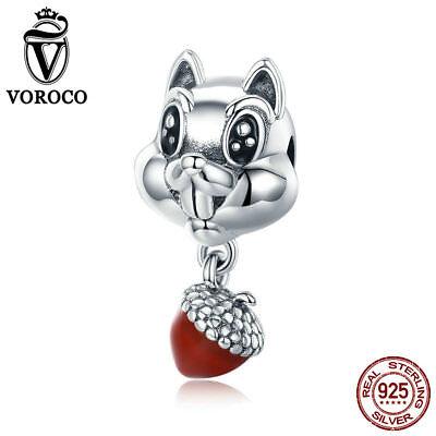 Voroco S925 Sterling Silver Bead Charm Hazelnut /& Squirrel For Bracelet Jewelry