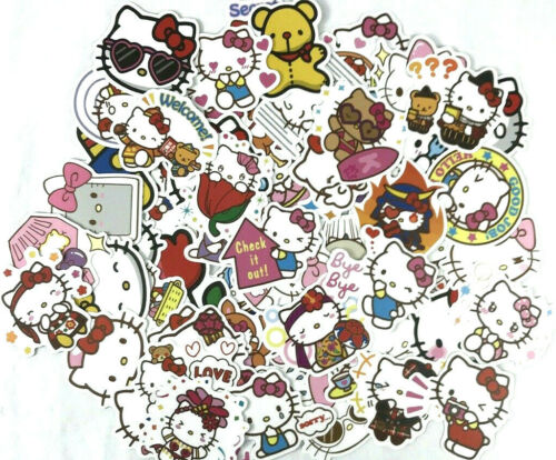 100pc Hello Kitty Anime Phone Laptop Wall Luggage Decal Sticker DIY Project Pack