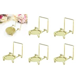 6pcs Tea Cup /& And Saucer Stand Display Easels Brass Etched Base