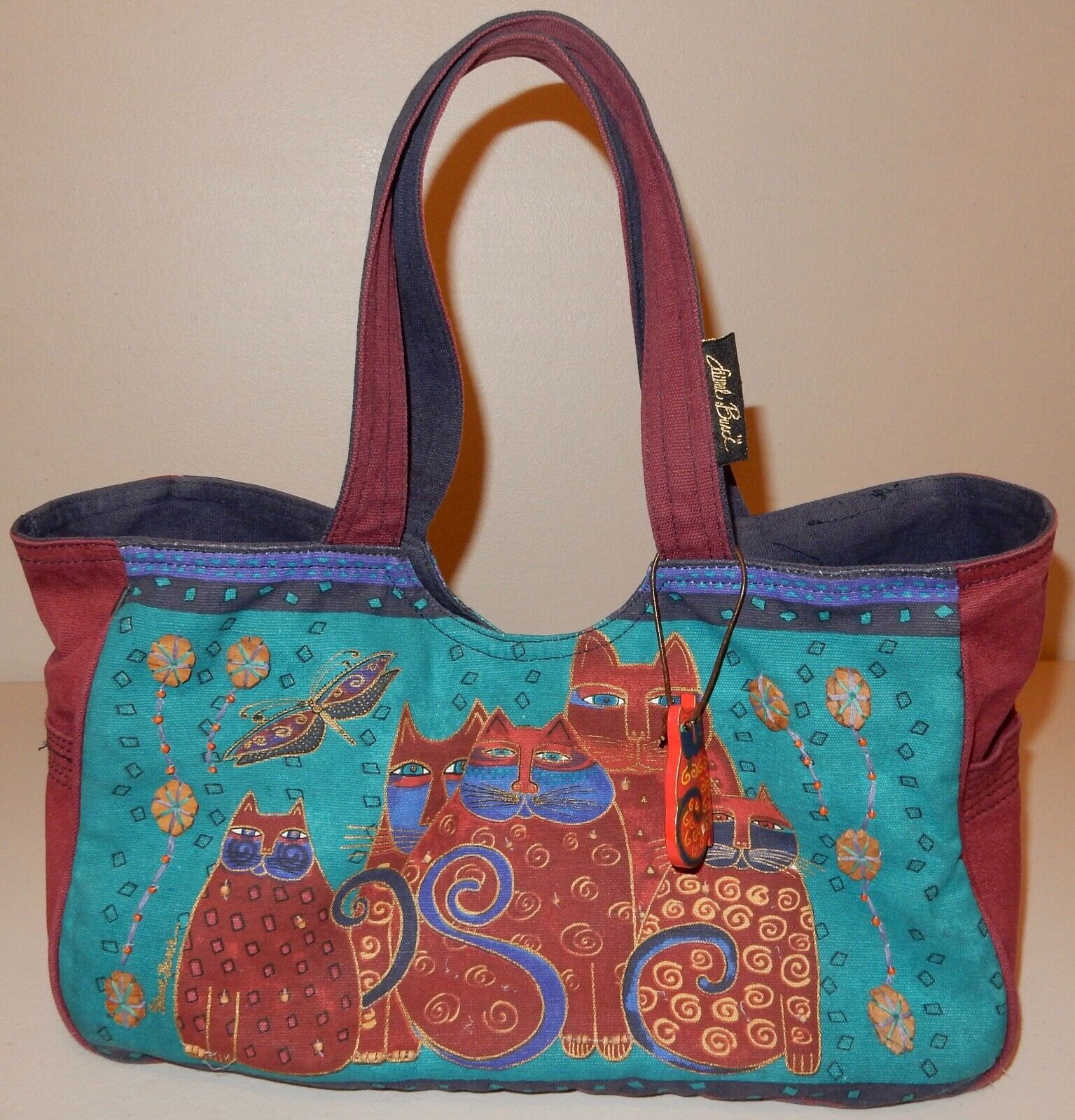 Laurel Burch Cat Tote Bag & Pouch Used - image 4