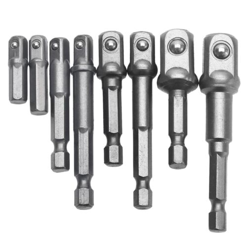 """Set of 8 Socket Adapter to Power Drill Cordless Impact Driver 1//4/"""" 3//8/"""" 1//2/"""" Bit"""