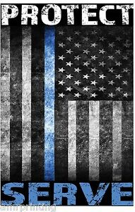 Protect-and-Serve-Blue-Line-American-Flag-Sublimated-T-Shirt