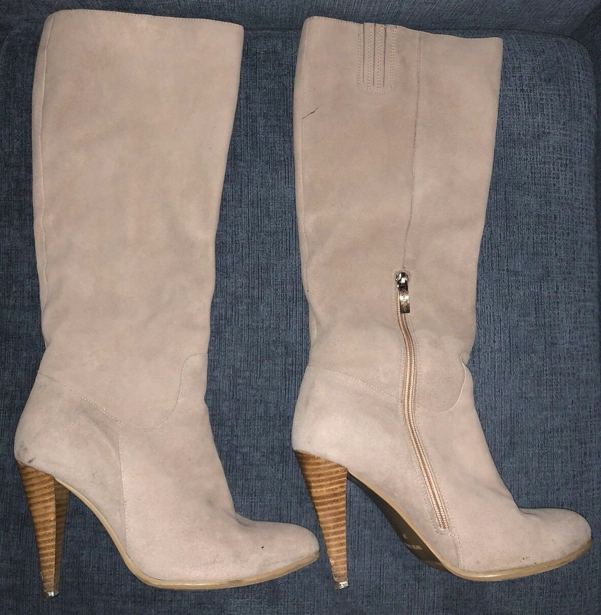 Genuine Suede Tall Stiefel Winter Fur Lined Sz Sz Sz 8.5 9 Super Style Beige Rosa 1e7847