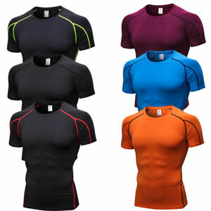 Mens-Compression-Sport-Gym-Running-Fitness-Shirts-Breathable-Outdoor-Tight-fit