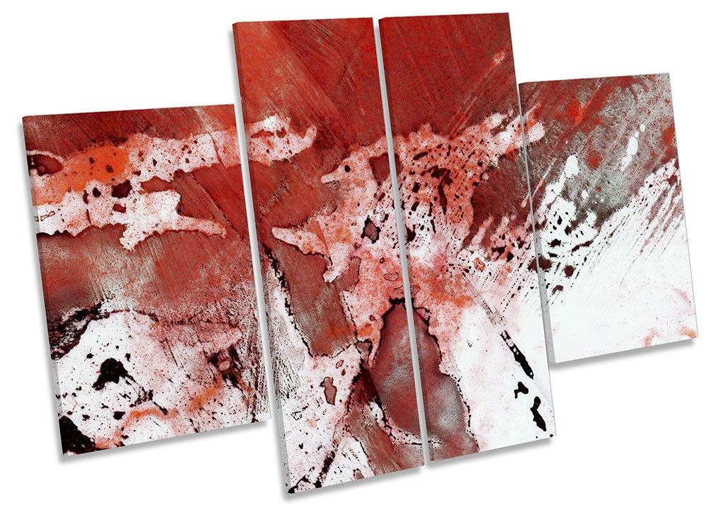 rosso ASTRATTO GRUNGE bianco a muro OPERA D'ARTE QUATTRO PANNELLO art